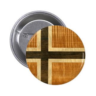 Norsk flagga Wood Norsk Flagg - kongeriket Norge Standard Knapp Rund 5.7 Cm