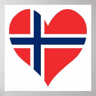 Norsk flaggahjärta affischer