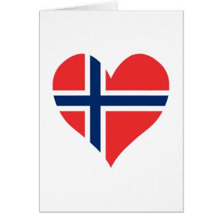 Norsk flaggahjärta hälsningskort