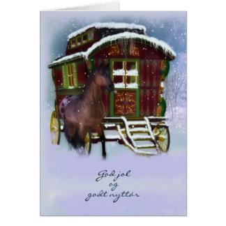 Norsk julkort - häst och den gammala husvagnen - hälsningskort