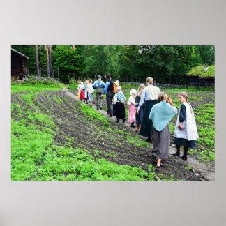 Norsk skolungdom på det norska Folk museet