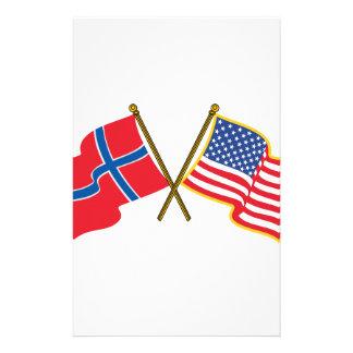 Norska amerikanska flaggan brevpapper