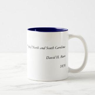 North Carolina 1839 och South Carolina karta Två-Tonad Mugg