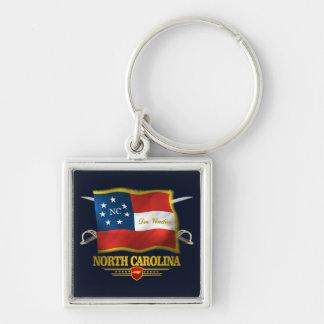 North Carolina - Deo Vindice Fyrkantig Silverfärgad Nyckelring
