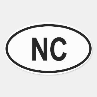 """North Carolina """"NC """", Ovalt Klistermärke"""