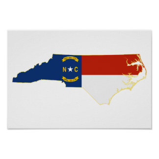 North Carolina statlig flaggakarta Poster