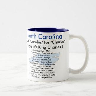 North Carolina symboler & karta Två-Tonad Mugg