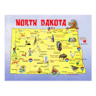 North Dakota statlig karta Vykort