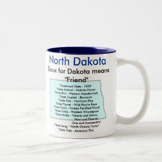 North Dakota symboler & karta Två-Tonad Mugg