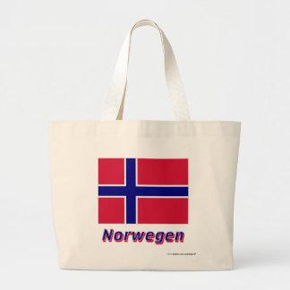 Norwegen Flagge mit Namen Tote Bags