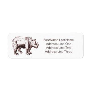 Noshörning - renaissancestilteckning av en returadress etikett