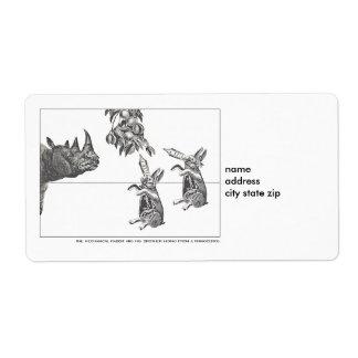 noshörningkaninetikett fraktsedel