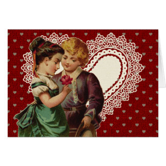 Nostalgisk valentin med barn och snörehjärta hälsningskort