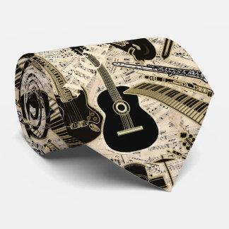Notblad och instrumenterar svart/guld ID481 Slips