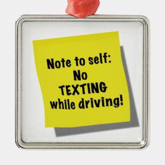 Notera till själven, ingen texting stundkörning julgransprydnad metall