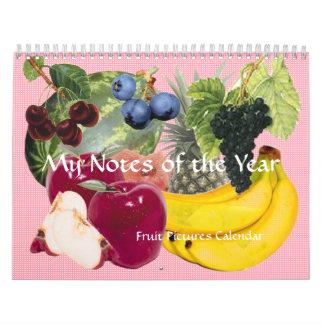 Noterar av årsfruktkalendern kalender