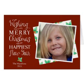 Noterar det flott röda helgdagfotoet för god jul OBS kort