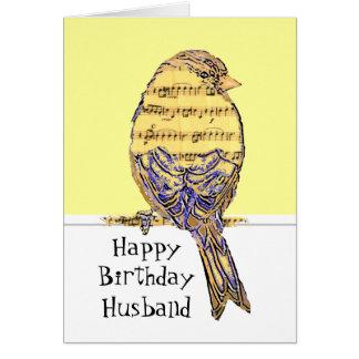 Noterar rolig musik för födelsedagmakemusiker fåge hälsningskort