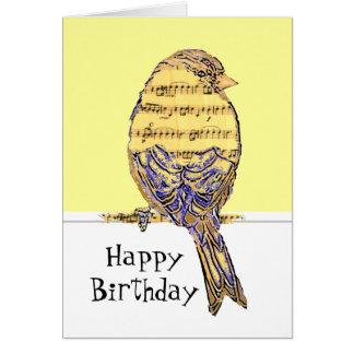 Noterar rolig musik för grattis på födelsedagenmus kort