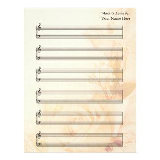 Notsystem för piano för notblad för vintagero brevhuvud