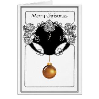 Nouveau jul som är dekorativ i guld och svart hälsningskort