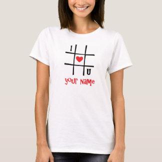 Nr. T-tröja för I Luv U (ditt namn) Tee