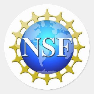 Nsf-logotyp vid förfrågan runt klistermärke
