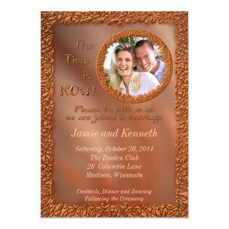 Nu och för evigt brons fotobröllopinbjudan 12,7 x 17,8 cm inbjudningskort
