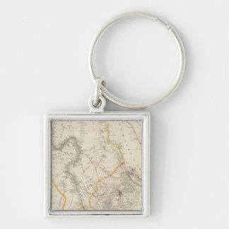 Nubia och Abyssinia Fyrkantig Silverfärgad Nyckelring