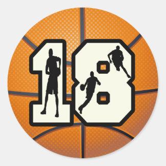 Numrera 18 basket runt klistermärke