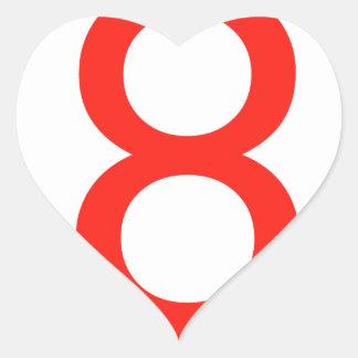Numrera 8 hjärtformat klistermärke