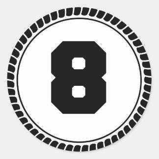 Numrera åtta cirklar runt klistermärke
