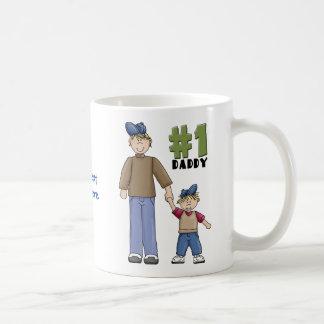 Numrera en, fadern för pappa #1 och pojkebarnet kaffe koppar
