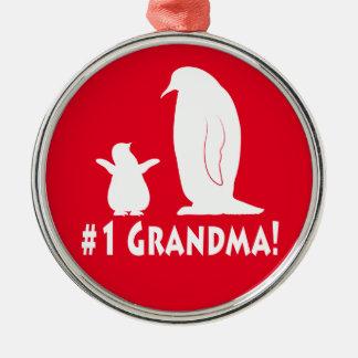 Numrera en mormor: Pingvin och chick Julgransprydnad Metall
