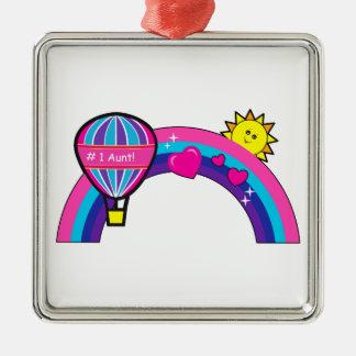 Numrera en moster med ballongen och regnbågen julgransprydnad metall
