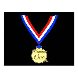 Numrera ett guld- medaljvinnareguld vykort
