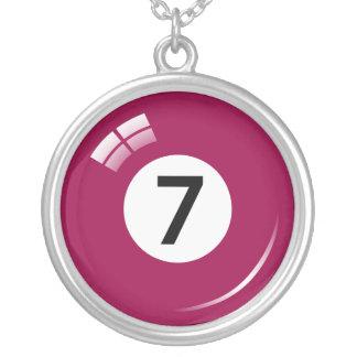 Numrera halsbandet för boll för sju bassäng silverpläterat halsband