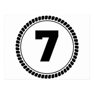 Numrera sju cirklar vykort