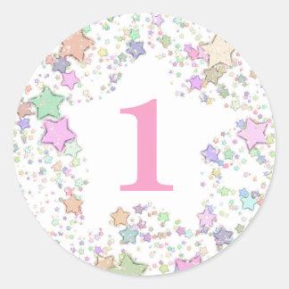 Numrera stjärnor för 1 EN första födelsedagpastell Runt Klistermärke
