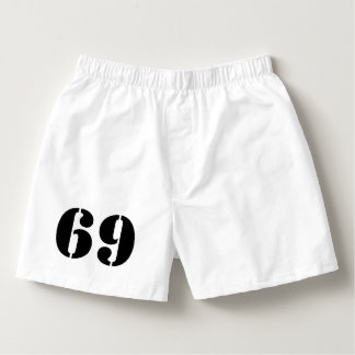 Numrera underkläderen för 69 den för manar roliga boxers