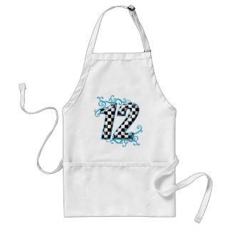 Numrerar auto tävla för blått 12 förkläde