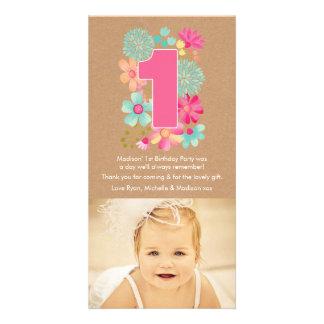 Numrerar den 1st födelsedagen för flickor 1 fotokort