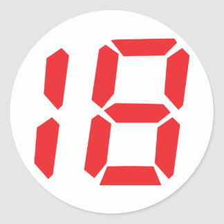 numrerar den digitala röda ringklockan för en runt klistermärke