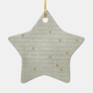 Numrerar den gråa bingoen för vintage bakgrund julgransprydnad keramik