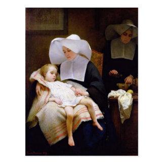 Nunna som att bry sig för ett sjukt barn vykort
