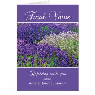 NunnafinalVows, fröjd, lavendelblomma Hälsningskort