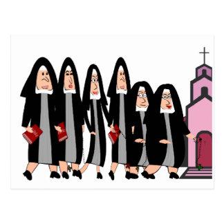 """Nunnor """"som Heading för att kyrktaga """", Vykort"""