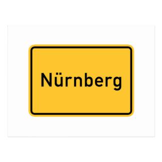 Nuremberg tysklant vägmärke vykort