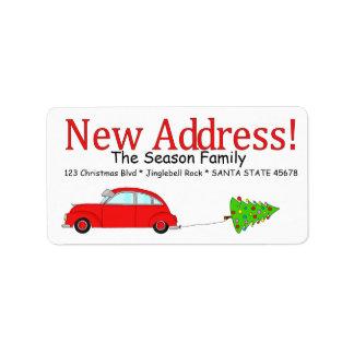 Ny adress bil- och trädjuletikett adressetikett