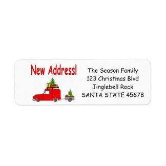 Ny adress bil- och trädjuletikett returadress etikett